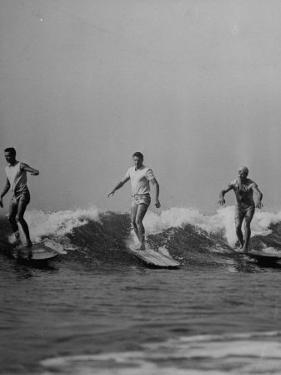 Men Riding the Waves on Surf Boards