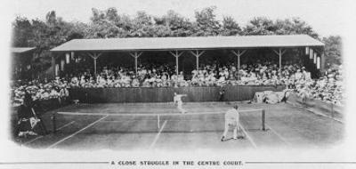Men's Singles Match on Centre Court at Wimbledon