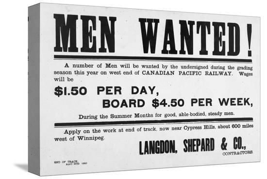 Men Wanted!--Stretched Canvas