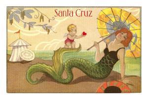 Mermaid with Parasol, Santa Cruz, California