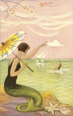 Mermaid with Parasol Waving to Rower