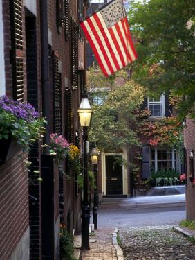 Cobblestone Street and Historic Homes of Beacon Hill, Boston, Massachusetts, USA by Merrill Images