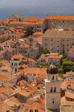 Croatia, Dubrovnik, a historic walled city and UNESCO World Heritage Site, red tile roofs by Merrill Images