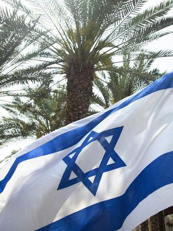 Israeli Flag with Star of David and Palm Tree, Tel Aviv, Israel, Middle East