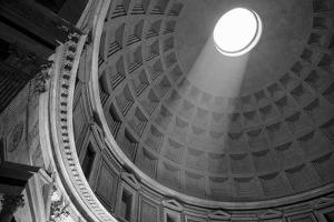 Italy, Rome, Pantheon interior with shaft of light. by Merrill Images