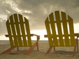 Lounge Chair Facing Caribbean Sea, Placencia, Stann Creek District, Belize by Merrill Images