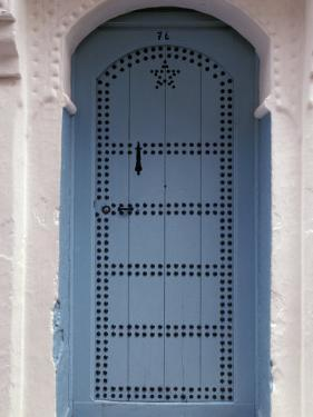 Moorish-styled Blue Door and Whitewashed Home, Morocco by Merrill Images