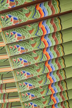 South Korea, Seoul, Jogyesa Temple, Daeungjeon, the Main Dharma Hall. by Merrill Images