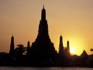 Sunset Behind Temple of Dawn on Chao Phraya River, Thailand by Merrill Images
