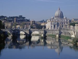 Tiber River and St. Peter's Basilica by Merrill Images