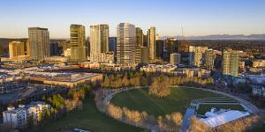 USA, Washington State, Bellevue. Downtown Park and skyline. by Merrill Images