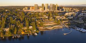 USA, Washington State, Bellevue. Meydenbauer Bay Park, Meydenbauer Bay and downtown skyline. by Merrill Images