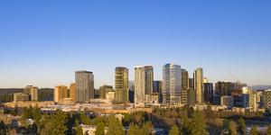 USA, Washington State, Bellevue. Skyscrapers and downtown skyline. by Merrill Images