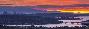 USA, Washington State. Lake Washington, Landscape over seattle at sunset by Merrill Images