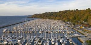 USA, Washington State, Seattle. Boats docked at Shilshole Marina and Elliott Bay. by Merrill Images