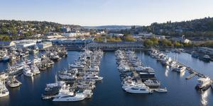 USA, Washington State, Seattle. Boats docked in marina at Fishermen's Terminal on Lake Union by Merrill Images