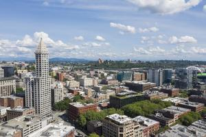 USA, Washington State, Seattle. Smith Tower and downtown. by Merrill Images
