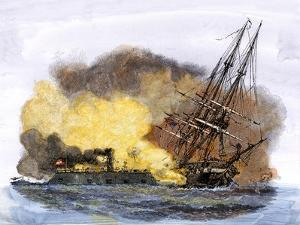 Merrimac, a Confederate Ironclad Ship, Rams the USS Cumberland during the American Civil War