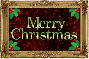 Merry Christmas Faux Framed Holiday Plastic Sign