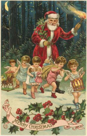 Merry Christmas, Santa with Cherubs