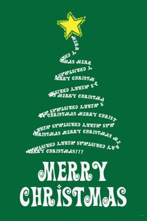 Merry Christmas (Tree) Art Poster Print