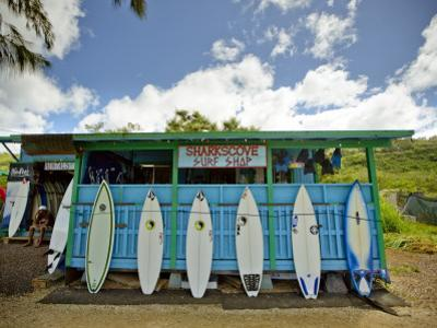 Sharks Cove Surf Shop with New Surfboards Lined Up at Front