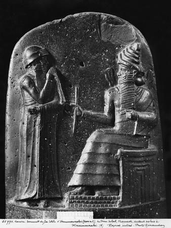 Code of Hammurabi, the God Shamash Dictating Laws to Hammurabi, King of Babylon, Susa, c.1750 BC