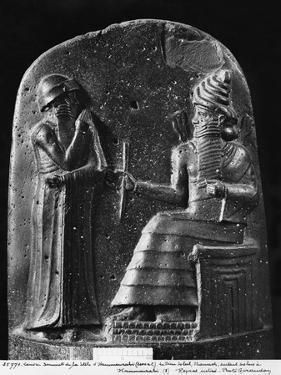 Code of Hammurabi, the God Shamash Dictating Laws to Hammurabi, King of Babylon, Susa, c.1750 BC by Mesopotamian