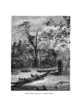 Fishing Dugout, Papua, 19th Century by Mesples