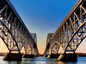 Metal bridges over a river, South Grand Island Bridge, Niagara River, New York State, USA
