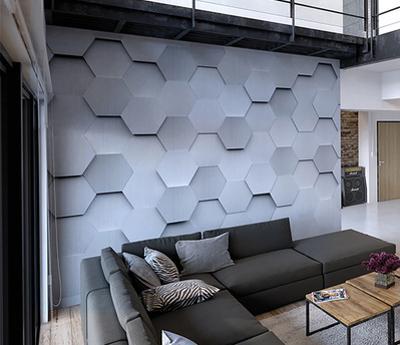 Metal Hexagons Wall Mural
