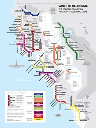 Metro California Wine Map Poster