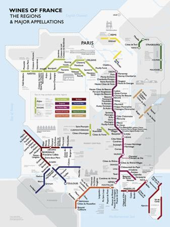 Metro France Wine Map Poster