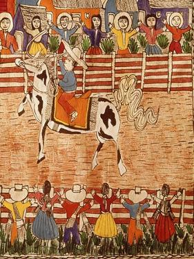Mexican Rodeo, Folk Art on Wooden Sheet, 20th Century