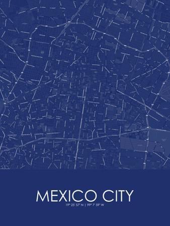 Mexico City, Mexico Blue Map