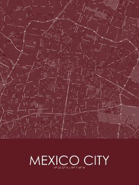 Mexico City, Mexico Red Map