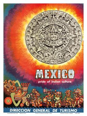 Mexico - Pride of Indian Culture - Aztec Tablet and Warriors