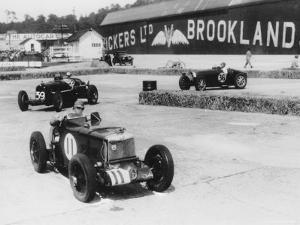 MG, Alfa Romeo, and Bugatti in British Empire Trophy Race at Brooklands, 1935