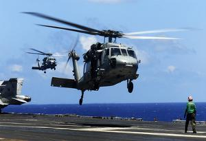 MH-60S Sea Hawk Helicopter (Landing on Air Craft Carrier) Art Poster Print