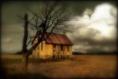 A Rural Scene with Small Church by Mia Friedrich