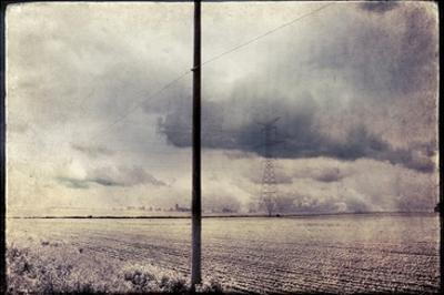 An Open Field with Large Telegraph Pylon by Mia Friedrich