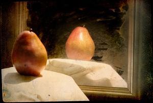 Pear against Framed Mirror by Mia Friedrich