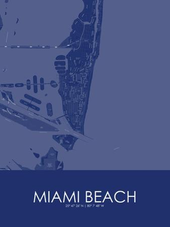 Miami Beach, United States of America Blue Map