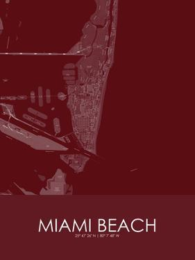 Miami Beach, United States of America Red Map