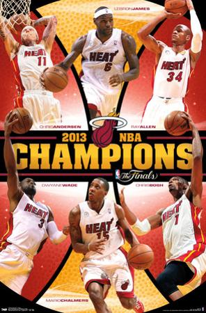 Miami Heat 2013 NBA Champions Sports Poster