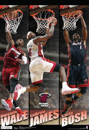 Miami Heat Big 3 Team Nba Sports Poster