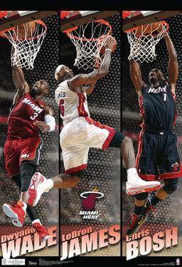 Miami Heat Big 3 Team Nba Sports Poster