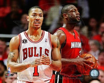 Miami Heat, Chicago Bulls - Dwyane Wade, Derrick Rose Photo
