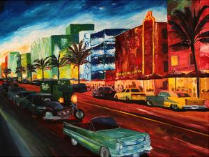 Miami Ocean Drive With Mint Cadillac by M Bleichner