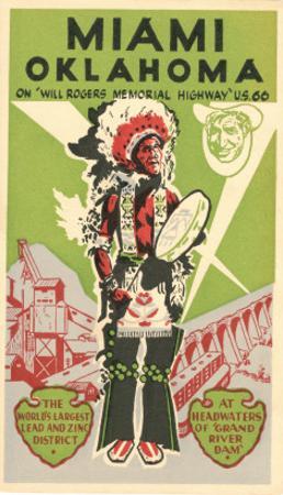 Miami, Oklahoma Travel Poster, Plains Indian, Route 66